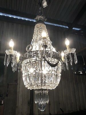 Huge, large Original Crystal Bag/Basket French Empire Chandelier
