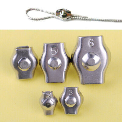 10x Stainless Steel Wire Rope Simple Grip Cable Clamps Caliper Clips 4/6/8/10/12