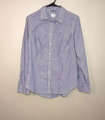 A New Day Blue White Striped Long Sleeve Button Down Flower Embellishments