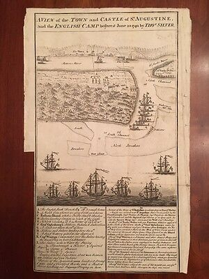 A View of the Town and Castle of St. Augustine, Early American MAP, Florida 1740