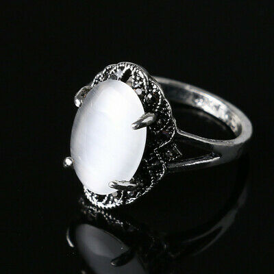 Women's Opal Rings Rhinestone Wedding Ancient Silver Band Jewllery Size 7-10