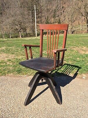 Antique Victorian Small Child's Wood Adjustable Swivel Desk Office Chair