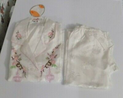 Vintage Chinese  Womens RAYON 2Pc Short Sleeve Pajamas SIZE 40 YOUTH FLORAL NEW