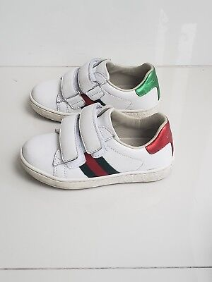 8a3cc5c4650 GUCCI Baby Infant Kids White Leather Sneakers Shoes Size 23 100% Authentic 6