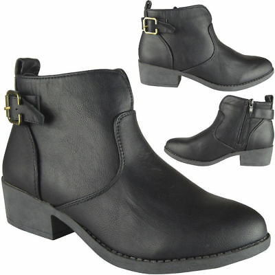 New Womens Zip Smart Ankle Boots Ladies Mid Heel Casual Work Chelsea Shoes Size