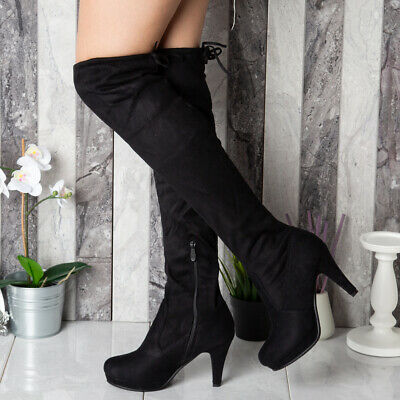 Ladies Thigh High Over The Knee Boots Platform Stiletto Heel Shoes Size