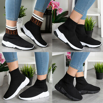 Ladies Running Trainers Womens Sock Fitness Sports Slip On Gym Pumps Shoes Size