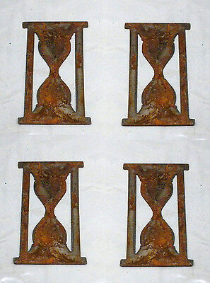 """Lot of 4 Hourglass Shapes 3"""" Rusty Metal Vintage Craft Sign Ornament"""