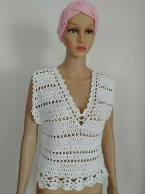 Hand Knit Crochet Women's/Teen White V-Neck Summer Fashion Top Size Small