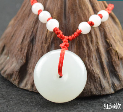China handcarved white jade Round Safety buckle Pendant & red Rope necklace