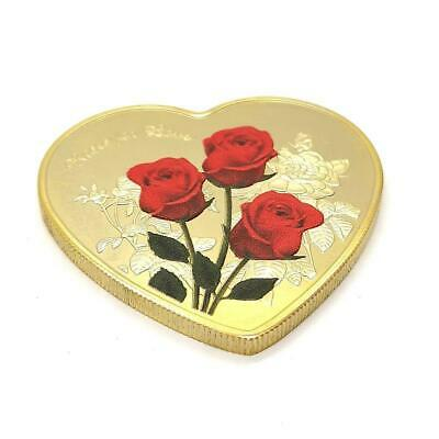 Love Heart Shaped Red Rose Commemorative Coin 52 Languages I Love You Love