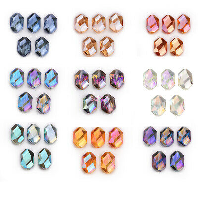 Crystal 5PCS 18mm Oval Hexagon Glass Spacer Loose Beads DIY Jewelry Accessories