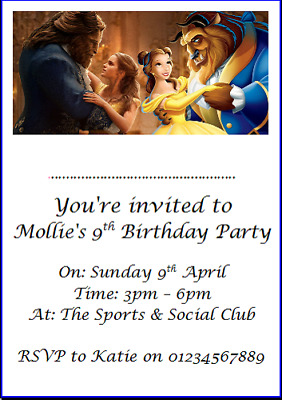 personalised paper card party invites invitations DISNEY BEAUTY AND THE BEAST #5