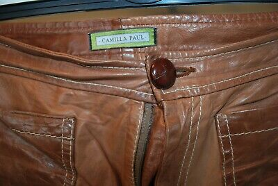 Vintage Camilla Paul brown leather trousers fully lined W 32 L 32