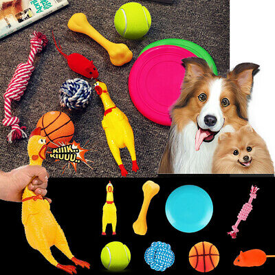 8 x Pet Dog Puppy Squeaky Chicken Chew Toy Squeaker Soft Plush Play Sound Toys