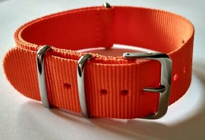 22mm Nato Strap Correa Reloj Nylon Pulsera Watch band Orange Naranja