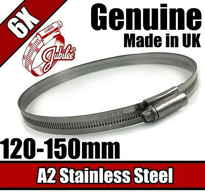 Genuine Jubilee Stainless Steel Clips Hose Pipe Clamp Worm Drive 120mm-150mm 6X