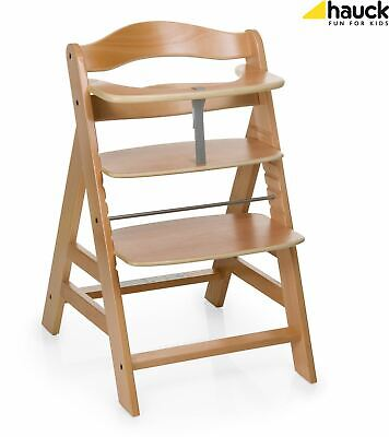 Hauck ALPHA+ WOODEN HIGHCHAIR NATURAL Highchair Baby Feeding BNIP
