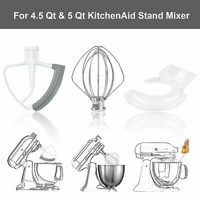 4.5 & 5 Qt Tilt-Head Beater,Wire Whip,Pouring Shield for KitchenAid Stand Mixer