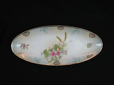 "Vintage Oval Celery Serving Dish Gold Trim 13"" Germany"