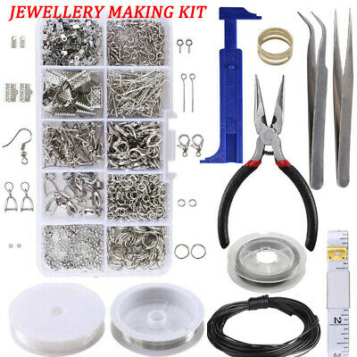 Large Jewellery Making Starter Kit Pliers Tools Findings Box Beads Wire Starter