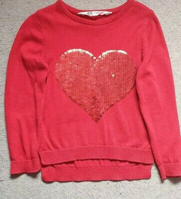 H&M Red Heart Jumper Girls Size 2-4 Years