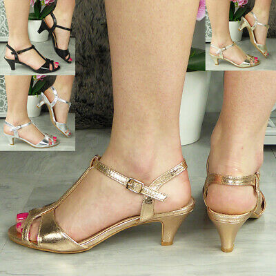 Ladies Party Sandals Womens Kitten Heel Shiny New Wedding Bride T-Bar Shoes Size