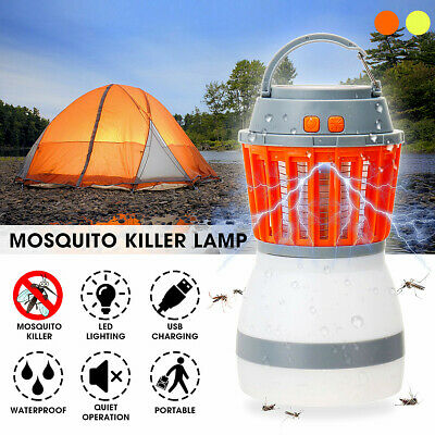 Solar USB Travel Light Mosquito Killer Lamp Insect Bug Zapper Bug Trap Fly Pest