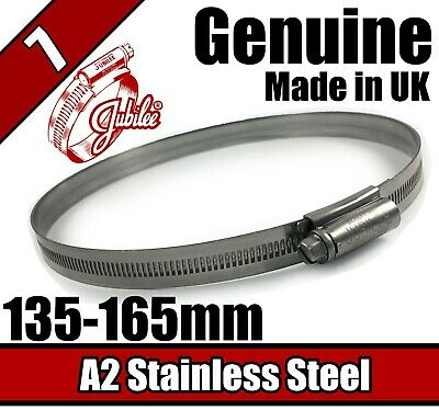 Genuine Jubilee A2 Stainless Steel Clip Hose Pipe Clamp Worm Drive 135mm-165mm 7