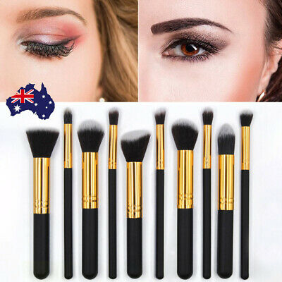 10Pcs Professional Kabuki Foundation Brushes Makeup Brush Set Cosmetic Tool Kit