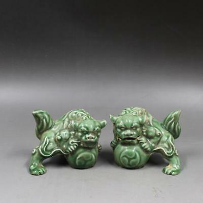Chinese Old Longquan Kiln Green Glaze Pair Porcelain Foo Dog Palace Lions