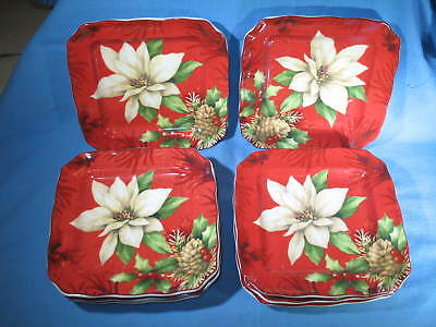 "Set of 8 POINSETTIA HOLLY Fine Porcelain China 222 FIFTH 6-1/4"" Appetizer Plates"