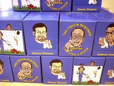 """Cry Like A Bitch"" Schumer Kimmel Pelosi Cuomo 6 Boxes Facial Tissues Free Ship!"