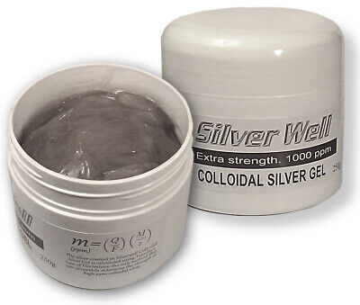 Colloidal Silver Gel Cream. Extra strength. 1000 ppm. Psoriasis Eczema Shingles.