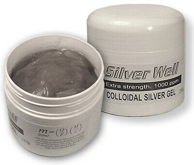 Colloidal Silver Gel Cream. Extra strength - 1000 ppm - 250g.  Psoriasis. Eczema