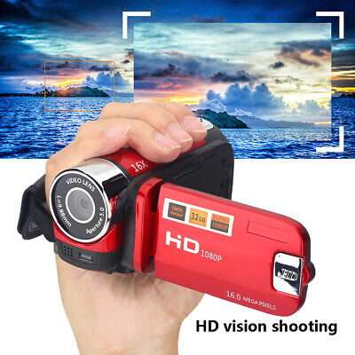 """Hd 1080P Digitale Videocamera 16Mp 16X Zoom 2.7"""" Lcd 270° Camcorder Video Rosso"""