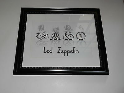 """Large Framed Led Zeppelin Symbols Zoso Jimmy Page/ Plant Poster,  24"""" by 20"""""""