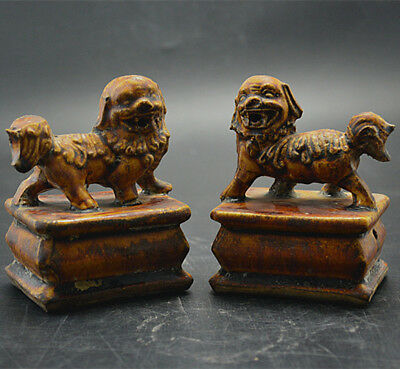 Chinese Old Marked Yellow Glaze Pair Porcelain Foo Dog Palace Lions