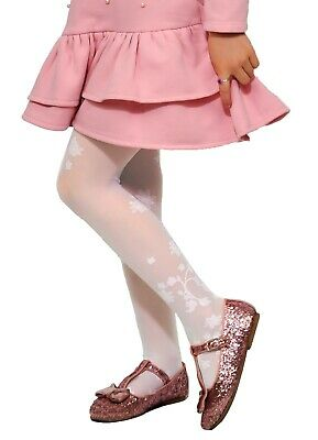 Girls Kids Floral Pattern White Tights Holy Communion Bridesmaid Party 6-7 years