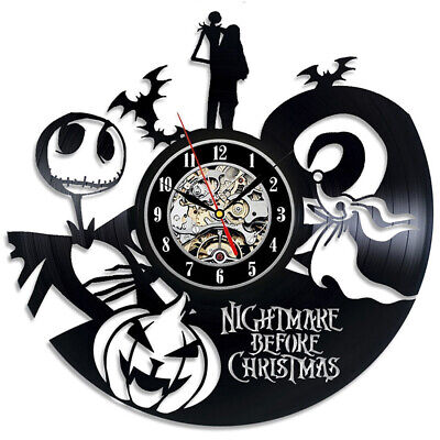 Vinyl Record Wall Clock Home The Nightmare Before Christmas Novelty New UK T8U3R