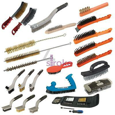 Hand Wire Brushes Brassed Spark Plug Wooden Wire File Card D-Handle Set