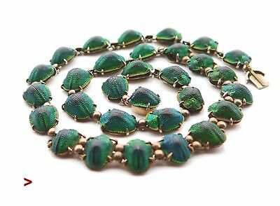 1889 Egyptian Revival Gilt Silver 30 Scarab Beetle Necklace/ 50cm/ 27gr
