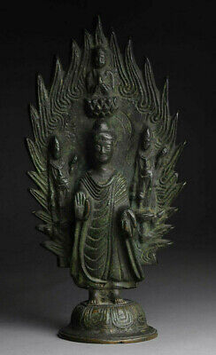 Antiker Buddha China Inschrift Bronze Qing Dynastie 24 cm alt antique
