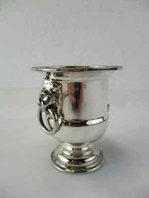 Viners silver plated toothpick holder exc cond miniature urn - lions head