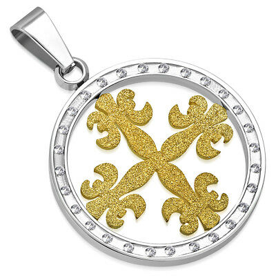 Stainless Steel 2tone Sandblasted Fleur De Lis Flower Cross Circle Charm Pendant