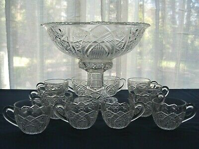 Indiana Glass Clear Paneled Daisy & Finecut Punch Bowl Cups Base Stand 14 pc Set