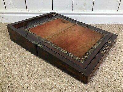 Antique Writing Slope Box With Inkwell And Felt Surface.
