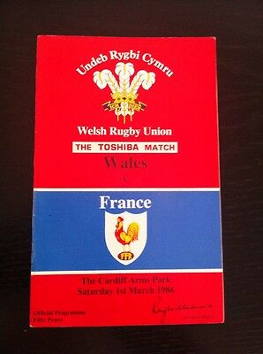 Wales V France 1986 Rugby Union Programme
