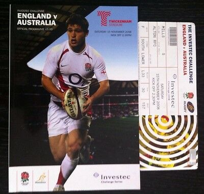 2008 England V Australia Rugby Programme And Ticket