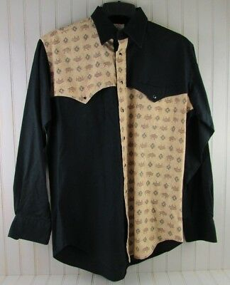 Old El Paso Shirt Works Mens Medium Western Pearl Snap Buttons Long Sleeve